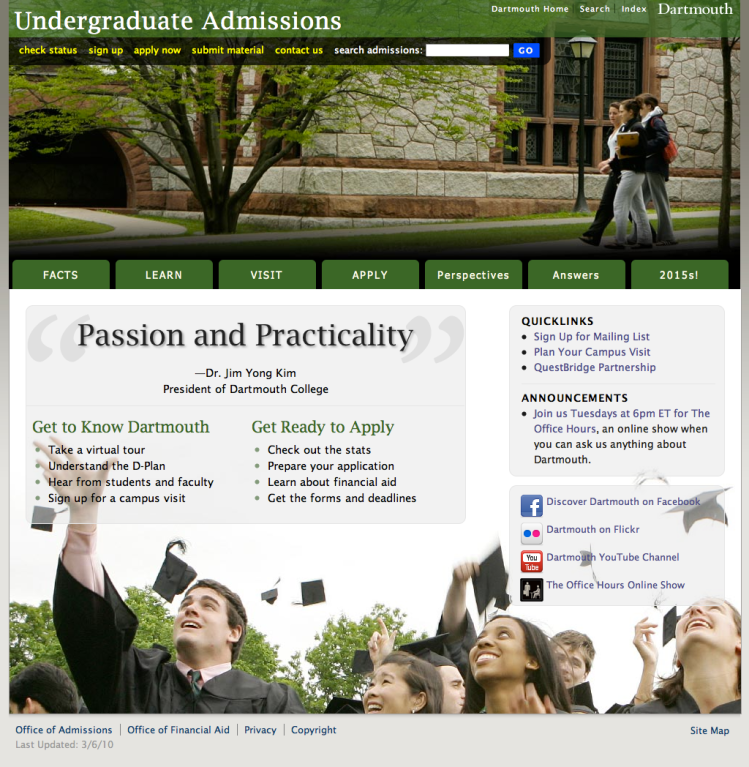 Screenshot of Dartmouth Admissions home page