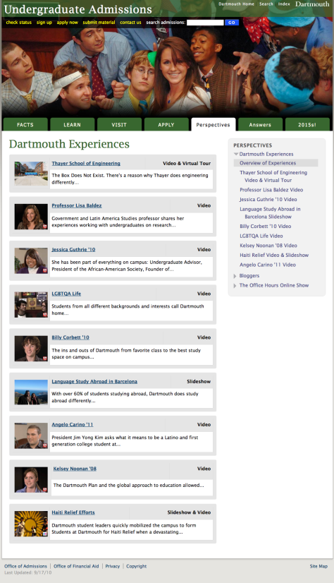 Screenshot of Dartmouth Experiences page