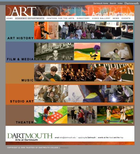 Screenshot from Arts at Dartmouth