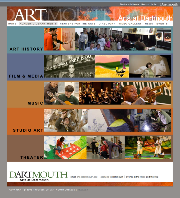 Screenshot from Arts at Dartmouth