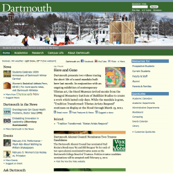 Screenshot of Dartmouth homepage