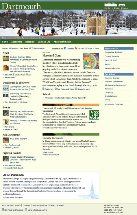Screenshot of Dartmouth homepage