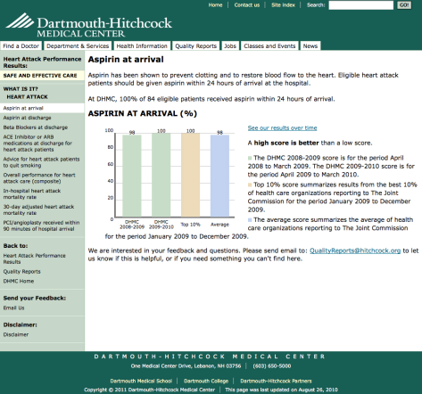 Screenshot of Quality Reports detail page