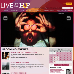 Screenshot of Hopkins Center for the Arts home page