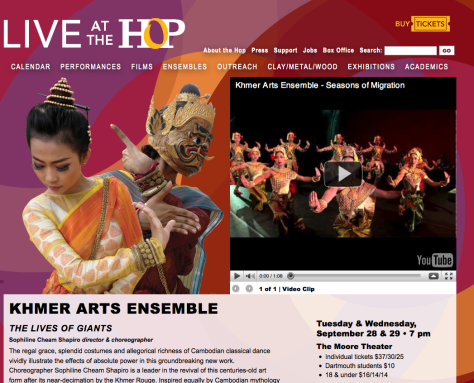 Screenshot of Khmer Arts Ensemble page with silhouette