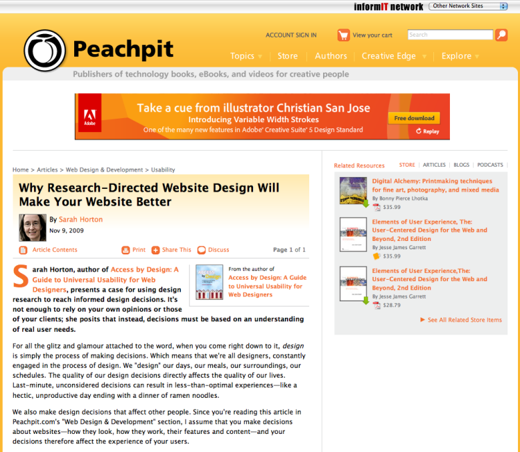 Screenshot of Peachpit article page