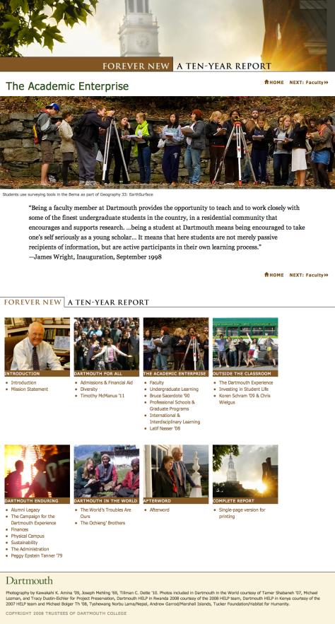 Screenshot of Ten Year Report webpage