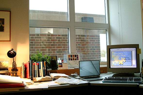 Photo from office window with brick wall obstructing the view