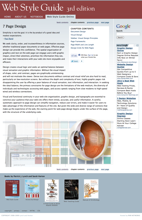 Screenshot of Web Style Guide page