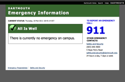 Screenshot of Dartmouth Emergency Information homepage