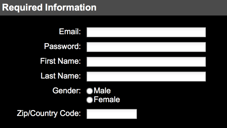 """Screenshot of sign-up form labeled """"Required information"""" with text inputs for email, password, first name, last name, and zip or country code, and a radio button control labeled """"Gender"""" with """"Male"""" and """"Female"""" options."""